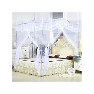 Curved Top Mosquito Net with Metallic Stand - White