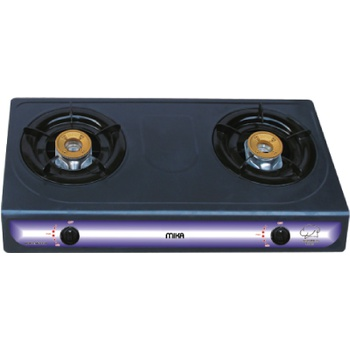 Gas Stove, Table Top, Non Stick, 2 Burner, Grey
