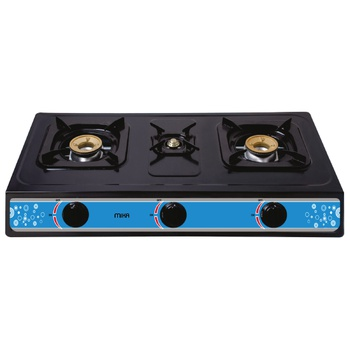 Gas Stove, Table Top, Nonstick, 3 Burner