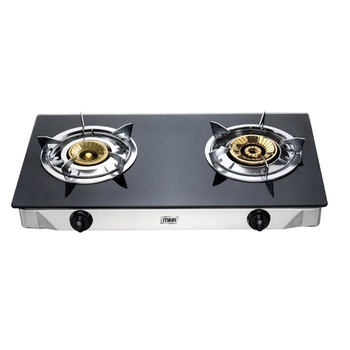 Gas Stove, Table Top, Glass Top, Double Burner, Black