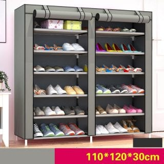 Portable Shoe Rack - 36 pairs - Grey