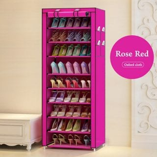 Portable Shoe Rack - Single Column-27 Pairs- Pink