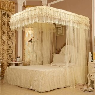 Two Stands Mosquito Net with Metallic Stand - Cream